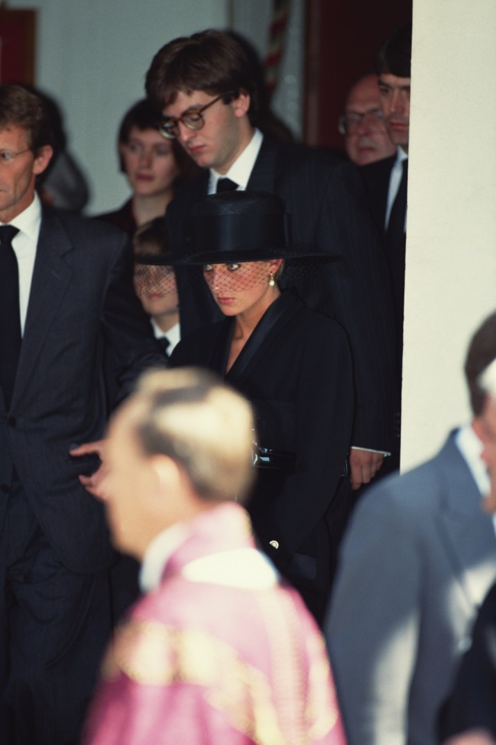 Princess Diana (1961 - 1997) at the funeral of her friend, British art dealer Andrew Ward-Jackson, London, August 1991. (Photo by Jayne Fincher/Princess Diana Archive/Getty Images)