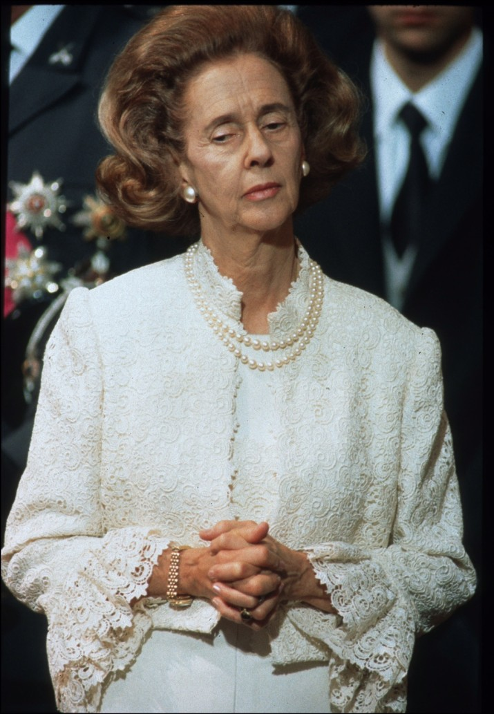 BRUSSELS , BELGIUM - AUGUST 7, 1993: Queen Fabiola of Belgium at the funeral of King Baudouin. (Picture by Photo News via Getty Images)