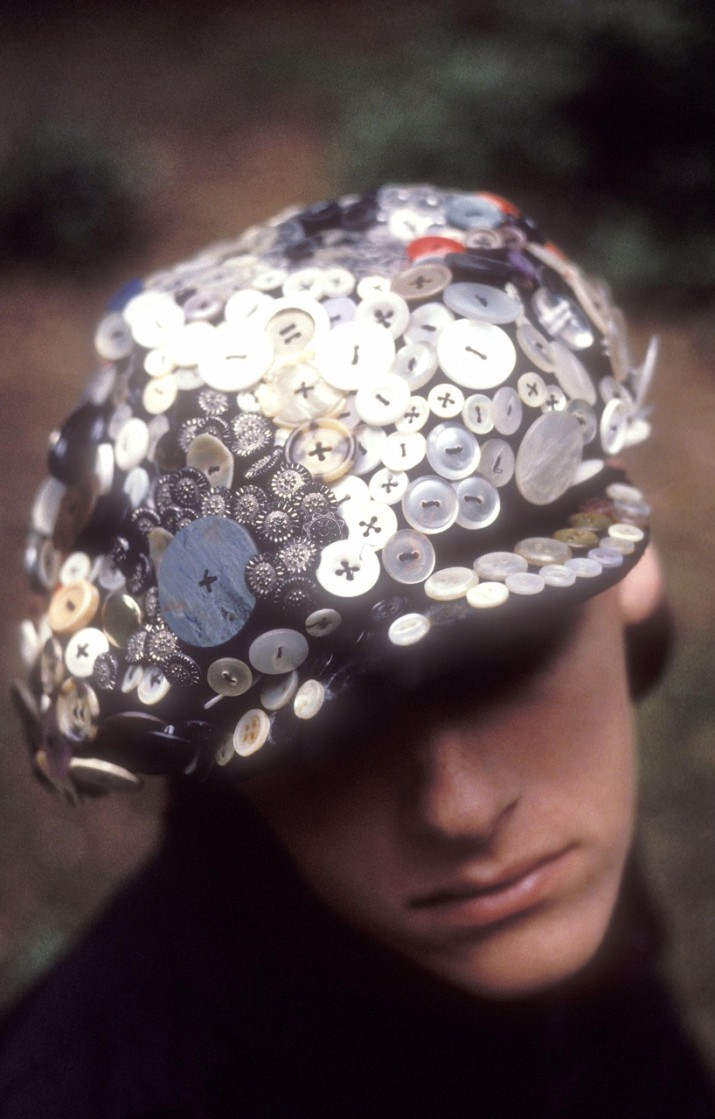 A buttoned cap, customised by John Galliano, very much pearly King & Queen, UK 1985. (Photo by: PYMCA/UIG via Getty Images)