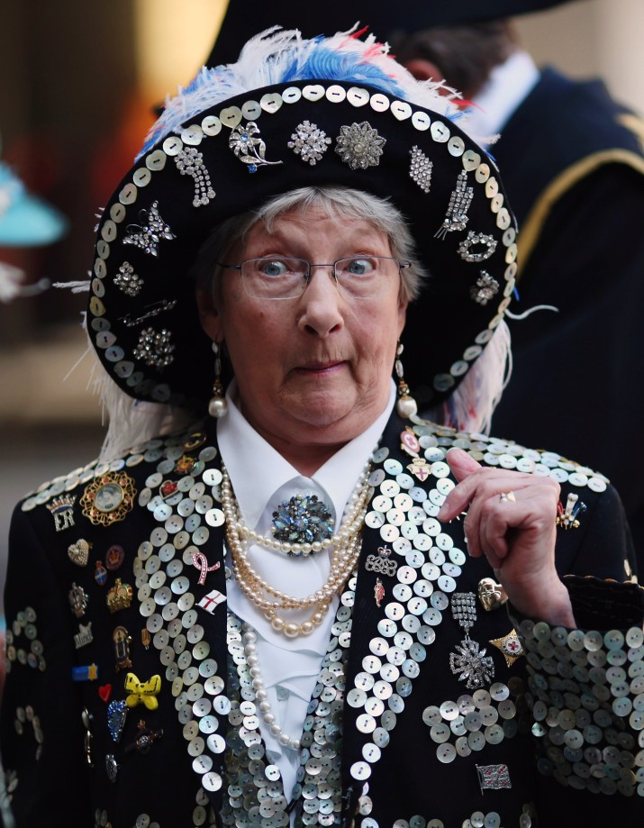 LONDON, ENGLAND - SEPTEMBER 27: Pearly Kings and Queens gather to celebrate their annual Costermonger's Harvest Festival at the London Guildhall on September 27, 2009 in London, England. The event is held on the first Sunday of every October, and is followed by a parade through the City of London to the St Mary-le-Bow Church, where a service is conducted by the Pearly Kings and Queens. (Photo by Dan Kitwood/Getty Images)