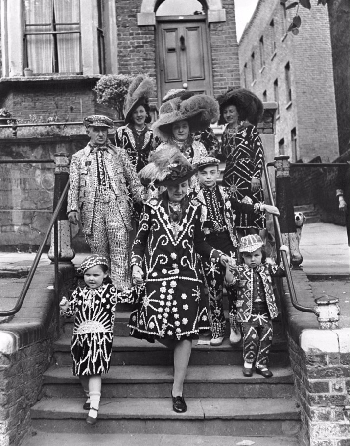 The Matthews family, Pearly Kings and Queens of Hampstead, venture out in their costumes, 22nd May 1947. (Photo by George Konig/Keystone Features/Hulton Archive/Getty Images)