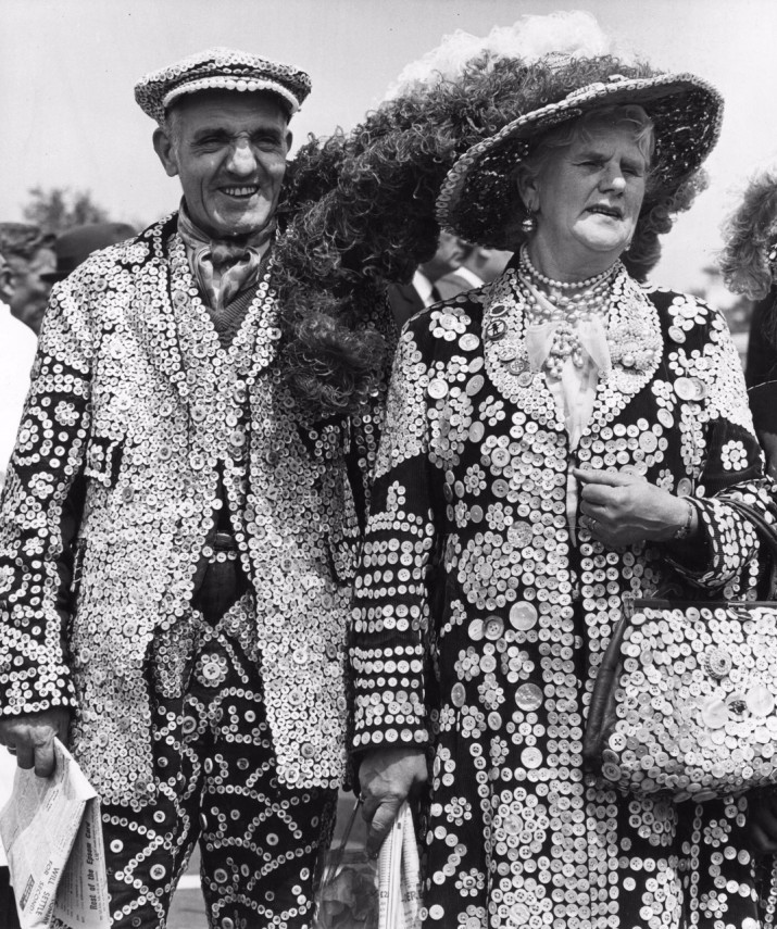 The Pearly King and Queen of Stoke Newington at the Epsom derby.