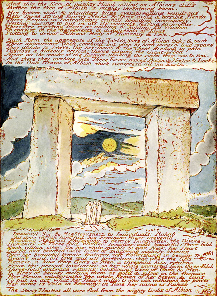 The Druid Gateway, page 70 of the poem 'Jerusalem' by William Blake, 1804-1820. English poet, painter and printmaker: 28 November 1757 — 12 August 1827.  (Photo by Culture Club/Getty Images) *** Local Caption ***