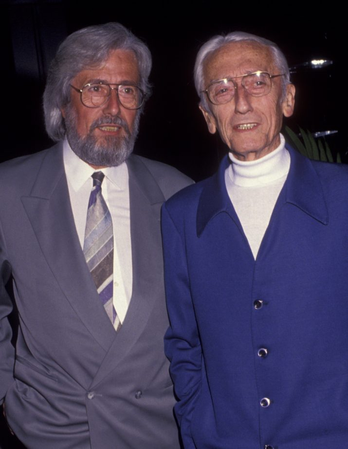 "BEVERLY HILLS, CA - JANUARY 28: Jean-Michel Cousteau and Jacques Cousteau attend the screening of ""An Evening With Cousteau"" on January 28, 1992 at the Academy Theater in Beverly Hills, California. (Photo by Ron Galella, Ltd./WireImage)"