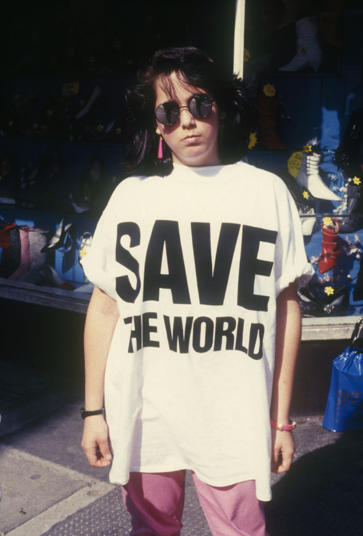 Girl in Save the World t-shirt, Kings Road, London, 1985. (Photo by: PYMCA/UIG via Getty Images)