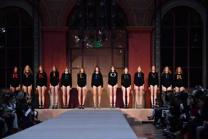 PARIS, FRANCE - OCTOBER 03: Models pose on the runway during the Sonia Rykiel show as part of the Paris Fashion Week Womenswear Spring/Summer 2017 on October 3, 2016 in Paris, France. (Photo by Pascal Le Segretain/Getty Images)