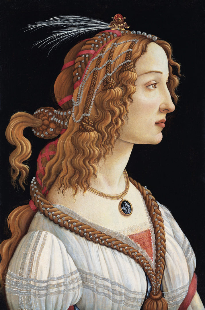 Portrait of Simonetta Vespucci as a Nymph by Sandro Botticelli (Italian, c. 1445-1510); tempera on wood, c. 1475, from the Stadel Museum, Frankfurt, Germany.  Vespucci is thought to have been the love interest of Giuliano de'Medici and was considered the most beautiful woman in Florence at the time. (Illustration by GraphicaArtis/Getty Images)