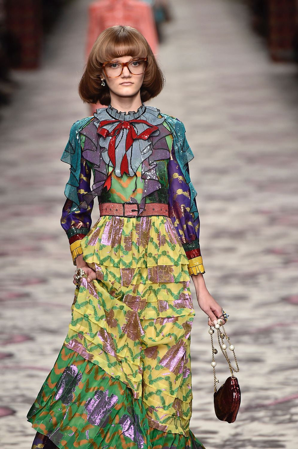 MILAN, ITALY - SEPTEMBER 23:  A model walks the runway at the Gucci Spring Summer 2016 fashion show during Milan Fashion Week on September 23, 2015 in Milan, Italy.  (Photo by Catwalking/Getty Images)