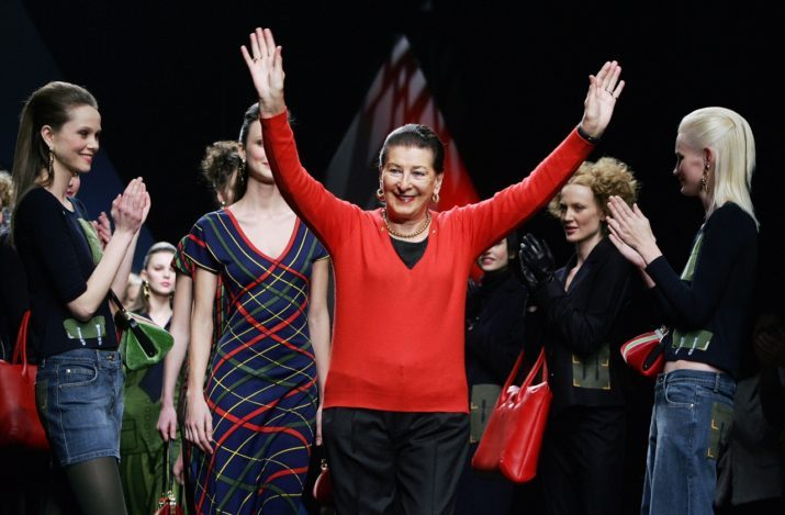 MILAN, ITALY:  Italian designer Roberta di Camerino acknowledges the applause on the catwalk at the end of her Fall/Winter 2005/2006 collection, during Milan's fashion week, 19 February 2005.  AFP PHOTO/ Filippo MONTEFORTE  (Photo credit should read FILIPPO MONTEFORTE/AFP/Getty Images)