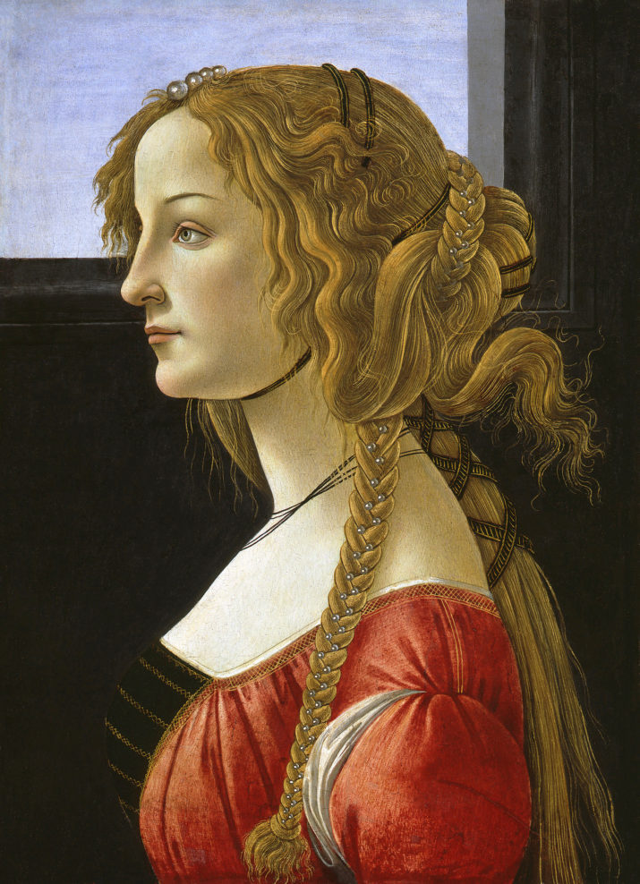 Portrait of Simonetta Vespucci by Sandro Botticelli (Italian, c. 1445-1510); tempera on wood, c. 1476, from the Staatliche Museen, Gemaldegalerie, Berlin, Germany. Vespucci is thought to have been the love interest of Giuliano d'Medici and was considered the most beautiful woman in Florence at the time. (Photo by GraphicaArtis/Getty Images)
