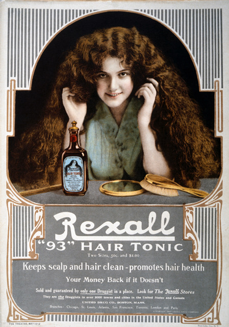 Woman With Long Hair, Rexall 93 Hair Tonic, Advertisement, circa 1912 . (Photo by: Universal History Archive/UIG via Getty Images)