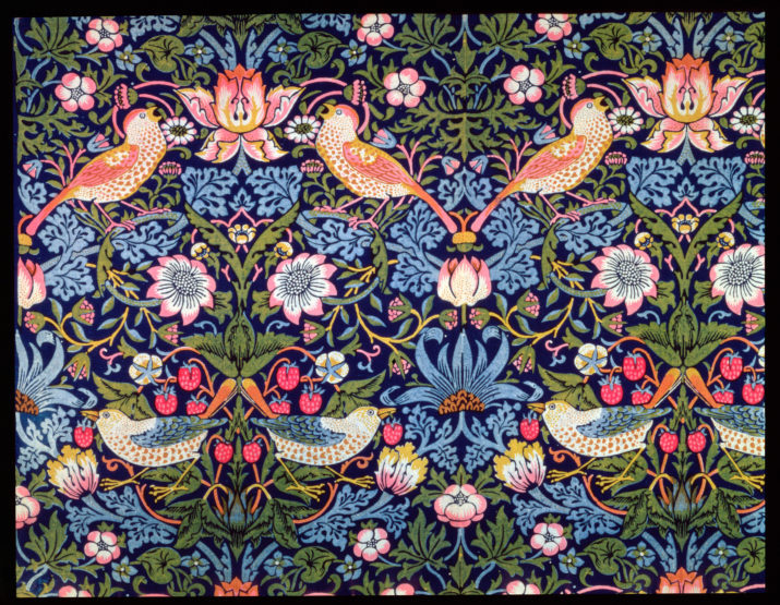 The Strawberry Thief', textile designed by William Morris, 1883. Artist William Morris. (Photo by Historica Graphica Collection/Heritage Images/Getty Images)