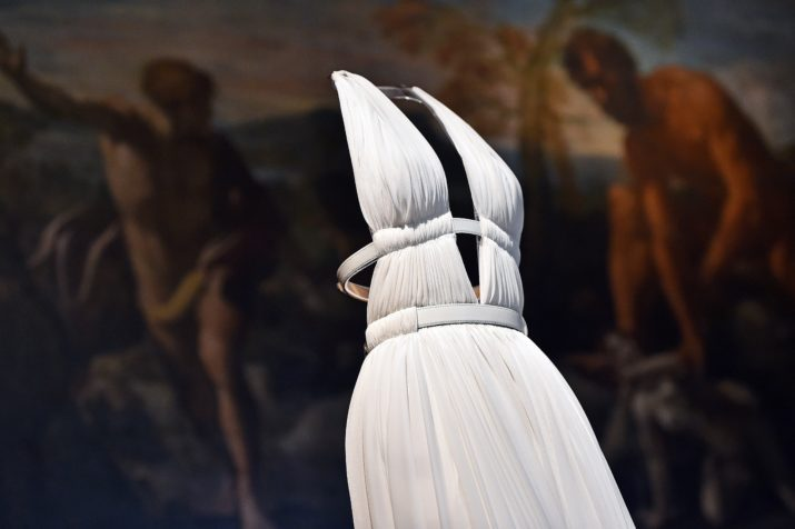 "A creation by Tunisian-born, Paris-based couturier Azzedine Alaia is displayed during the press preview of the exhibition "" Azzedine Alaia's soft sculpture"" at the Galleria Borghese in Rome on July 10, 2015. The exhibition will run from July 11 to October 25, 2015. Visitors can see Alaia's work displayed in the middle of the permanent collection of scluptures and furnitures of the Villa Borghese.  AFP PHOTO / GABRIEL BOUYS = RESTRICTED TO EDITORIAL USE, MANDATORY MENTION OF THE ARTIST UPON PUBLICATION, TO ILLUSTRATE THE EVENT AS SPECIFIED IN THE CAPTION =        (Photo credit should read GABRIEL BOUYS/AFP/Getty Images)"