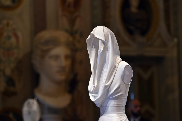 "A creation by Tunisian-born, Paris-based couturier Azzedine Alaia is displayed during the press preview of the exhibition "" Azzedine Alaia's soft sculpture"" at the Galleria Borghese in Rome on july 10, 2015. The exhibition will run from July 11 to October 25, 2015. Visitors can see Alaia's work displayed in the middle of the permanent collection of scluptures and furnitures of the Villa Borghese.  AFP PHOTO / GABRIEL BOUYS        (Photo credit should read GABRIEL BOUYS/AFP/Getty Images)"